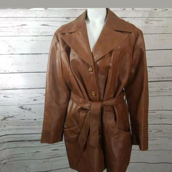 kmart Jackets & Blazers - 💜 VINTAGE WOMEN'S Faux Leather Coat Brown 24.5